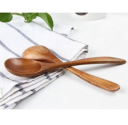 Wonque Simple Cuill/ère /à th/é Bois 2 pcs Multi sp/écificit/és 12.3 * 2.5 CM Wood Color Miel Confiture caf/é
