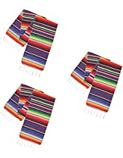 SSYAQRA Mexican Table Runners, 3Pack 14x84inch Fiesta Mexican Theme Table Runner Fringe Handwoven Table Runners for Mexican Party Wedding Decorations Outdoor Picnics Dining Table