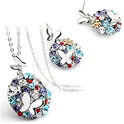 HSG Fashion Colorful Crystal Double Butterfly Jewelry Sets necklace earrings for Wedding JM2360