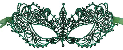 Luxury Mask Womens Lace Masquerade Mask Green -