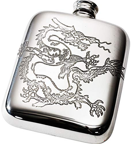 (Pewter Hip Flask 4 oz with Detailed Chinese Dragon)