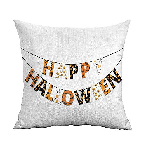 warmfamily Personalized Pillowcase Halloween Happy Halloween Banner Greetings Pumpkins Skull Cross Bones Bats Pennant with Hidden Zipper W14 xL14 Orange Black White