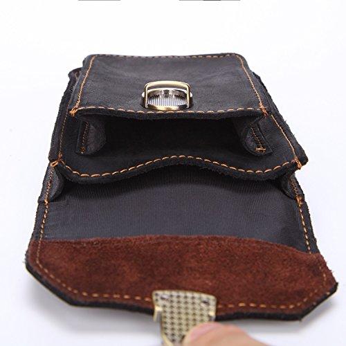 Vintage Multifunción De Clásico bags Portátil Para Pequeños Bolsos Black Capa Cuero Scsy Cinturón Primera Hombres xTnOqdzx7I