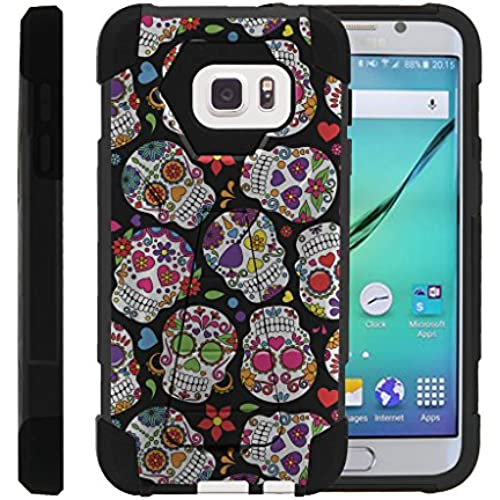 Galaxy S7 Phone Case, Dual Layer Shell SHOCK High Impact Kickstand Case- Sugar Skull Design Sales