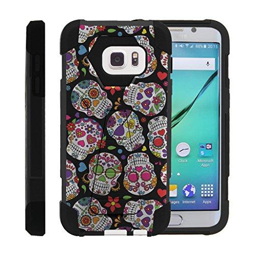 Galaxy S7 Phone Case, Dual Layer Shell Shock High Impact Kickstand Case- Sugar Skull Design