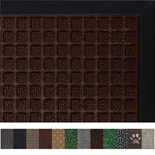 Mats Indoor Door - Gorilla Grip Original Durable Rubber Door Mat (29 x 17) Heavy Duty Doormat, Indoor Outdoor, Waterproof, Easy Clean, Low-Profile Mats for Entry, Garage, Patio, High Traffic Areas (Chocolate Squares)