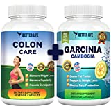 Pure Garcinia Cambogia Extract & Colon Care Combo! Best Weight Loss Supplements - Body Detox - Healthy Digestive System - 100% Natural Appetite Suppresant - 1600mg 60% HCA per serving