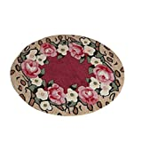 FZFZFZ Round carpet, European village farmhouse style Carved Living room carpet Bedroom pad Computer chair cushion Non-slip Door mat 80x80cm, Soft and comfortable (Color : #2, Size : 8080cm)