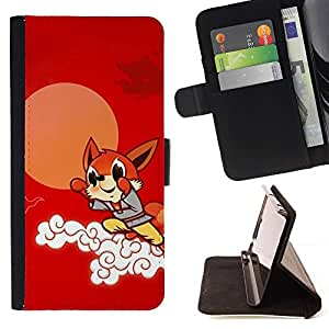 Momo Phone Case / Flip Funda de Cuero Case Cover - Flying Fox lindo - Samsung Galaxy A5 ( A5000 ) 2014 Version