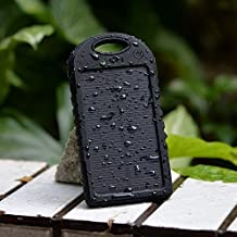Solar Panel 5000mAh Water Resistant & Shockproof Charger For Samsung Galaxy S5, S4, S3, Note 4, 3, Galaxy Tab Pro, S, 4, 3, iPhone 6, 5s, 5c, 5, 4, 4S, iPad, 2, 3, 4, 5, iPad Air, Mini, Retina Nokia Lumia, icon, 521, 520, 920, 1020, 1520, (Black)