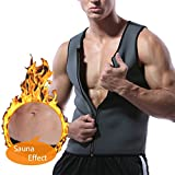 Men Waist Trainer Vest for Weight Loss Neoprene Body Shaper Sauna Tank Top Workout Sweat Shirt (gray, Large) Review