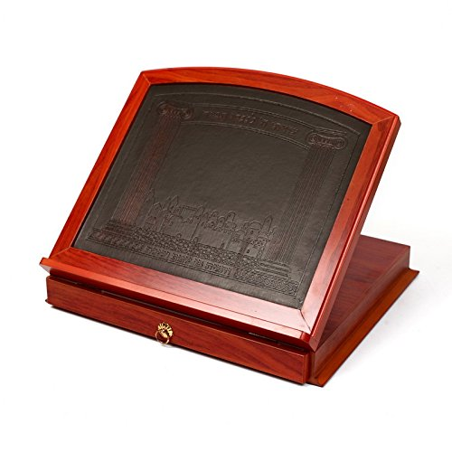 Leather and Wood Book Stand / Shtender with Storage Drawer by Judaica Mega Mall