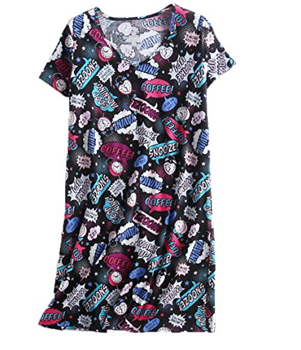 PNAEONG Amoy-Baby Women's Nightgowns Short Sleeves Cotton Sleepwear Print Sleep Shirt XTSY001-Black Coffee-2XL