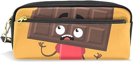 Estuche para lápices de chocolate con dibujos animados divertidos, bolsa para artículos de papelería escolar, bolsa de maquillaje para viaje: Amazon.es: Oficina y papelería