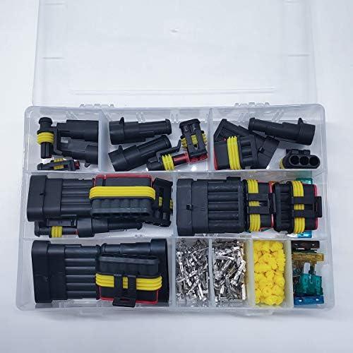 Qisf 240 Pieces Wasserdicht Schnellverbinder Kabel Steckverbinder Stecker Mit Auto Flachsicherungen 1 2 3 4 5 6 Stift Auto