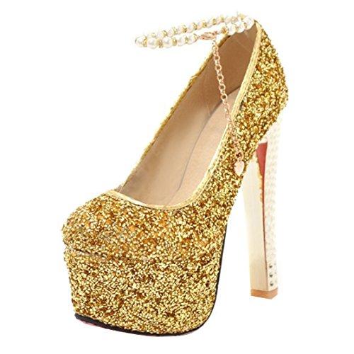 Chaussure Escarpins Partie Bride Brillante Or Plateforme Femme Femmes AIYOUMEI Haut Cheville pour Talon Sexy 4wqdBxA