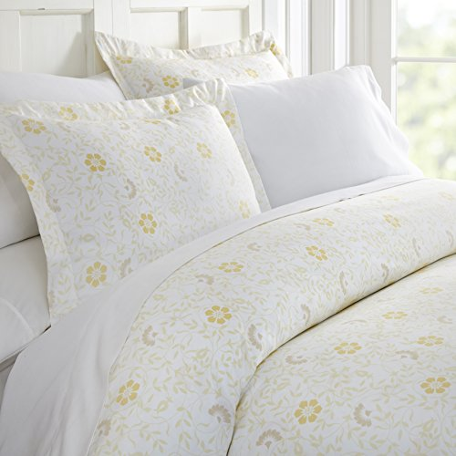 - ienjoy Home 3 Piece Spring Vines Patterned Home Collection Premium Ultra Soft Duvet Cover Set, Queen, White