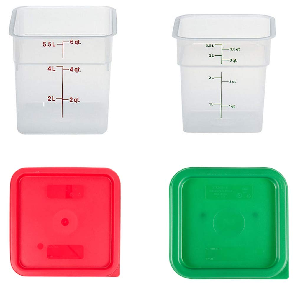 Cambro Containers With Lids - 4qt and 6qt Food Storage Set - 2 pack