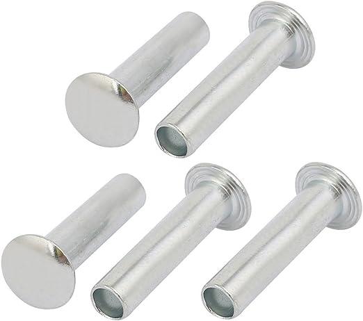 uxcell 5mmx22mm Round Head Semi-Tubular Rivet Fastener Silver Tone 5pcs