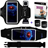 "[3 IN 1] Running Belt + Sports Armband for iPhone 7 6/6s Plus, Fitness Workout Waist Pack Case Bag Gym Jogging Arm Band for Galaxy S8 Plus/S7/S6 Edge+, Men/Women (XS to 4XL), Fits 5.5"" to 6.2"" Phones"
