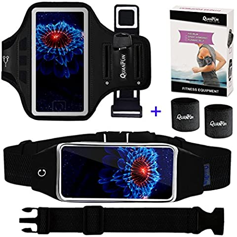 """Cell Phone Armband & Running Belt for iPhone 8 Plus X 7 Plus 6s/6 Plus, Galaxy s8 s7 s6 Edge, Waist Pack Workout Wristband Sport Arm Band Strap Key Holder for Hiking Jogging, Set of 3,Up to 6.2"""" (Waterproof Ipod 4 Case Yellow)"""