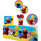 Elmo Sesame Street Birthday Party Supplies Pack Bundle Kit Including Dinner Plates, Dessert Plates, Cups, Napkins and Tablecover - 8 Guests