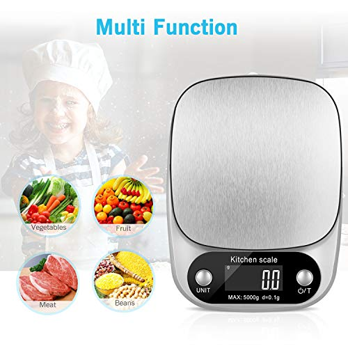 Kitchen Scale, Food Scale, Baking Scale, Jewelry Scales,Food Scale Digital Weight Grams and Oz,Digital Food Scale,Weight Scale for Food Gram Scale in 9 Unit Modes Conversion Range 0.1g-5000g/11lb