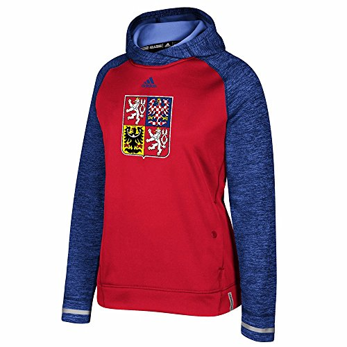 adidas Czech Republic NHL Red 2016 World Cup of Hockey Climawarm Player Pullover Hoodie for Women (L)