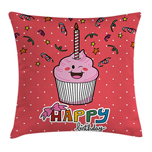 Birthday Throw Pillow Cushion Cover by Ambesonne, Pink Strawberry Flavor Cupcake with Candle Cute Face Confetti Bow Tie and Dots, Decorative Square Accent Pillow Case, 40 X 40 Inches, Multicolor (Interesting Cupcake Flavors)