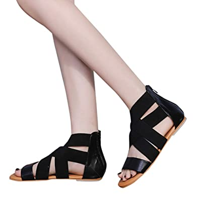 6e11476e890f GIANTHONG Women s Open Toe Ankle Strap Gladiator Flat Sandals Strappy Lace  up Low Heel Sandal Black