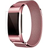 Exclusive Fashion Milanese Mesh Stainless Steel Watch Band Strap Bracelet, Ninasill New HD Film For Fitbit Charge 2 (Pink)