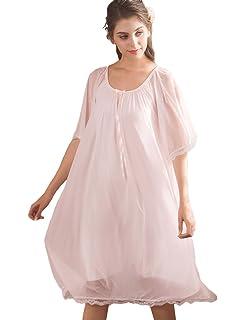 AIKOSHA Womens Scoop Neck Half Sleeve Two Layers Tulle Sleep Dress Loose  Swing Summer Nightgown f6f0a4761