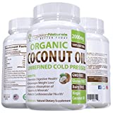 Coconut Oil Pills for Weight Loss Organic Coconut Oil Capsules / Pills 2000mg/Serving Virgin Cold Pressed Non GMO for Weight Loss, Extra Hair Growth and Healthy Skin. Unrefined Pure Coconut Oil Best Source of MCFA. 60 Servings/Bottle
