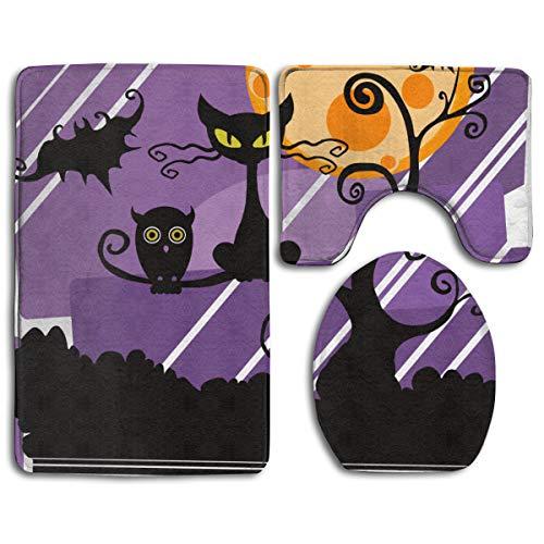 Best Door Mat Worst Costume Ever Halloween Scared Black Cat Mother's Day 3PC Bath Mat Rug Set Pattern Non Slip Toilet Seat Cover Rug Bathroom Set Decor (Size:35cmx 45cm/50cmx 40cm/80cmx 50cm)scary Hal -