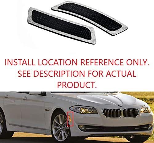 TopPick 63147203265-63147203266-S Bumper Reflector Lights FOR BMW F10 5-Series 2011-2014 Smoke//Chrome
