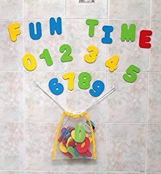 Baby bath toy foam letters and numbers with toy storage net organizer kids baby gift