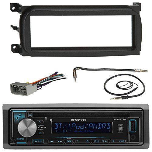 Kenwood KDCBT22 Bluetooth CD Car Stereo Audio Receiver - Bundle Combo W/ Metra Dash Kit For 1998-Up Chrysler/Dodge/Jeep Vehicles + Antenna Adapter Cable + Radio Wiring Harness + Enrock Antenna