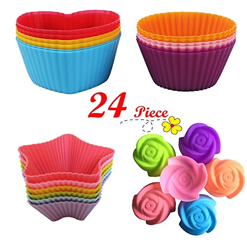 U Choicetore 24 Pcs Silicone Baking Cup/Silicone Cupcake Cup/Muffin Silicone Cup/ Cupcake Liners, Non-Stick, Mini Baking Molds, Food (Halloween Cupcake Recipes For Kids)