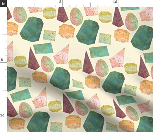 Spoonflower Gemstones Fabric - Opalescent Gems Jewels Colorful Watercolor Pretty Jewelled Print on Fabric by The Yard - Basketweave Cotton Canvas for Upholstery Home Decor Bottomweight Apparel