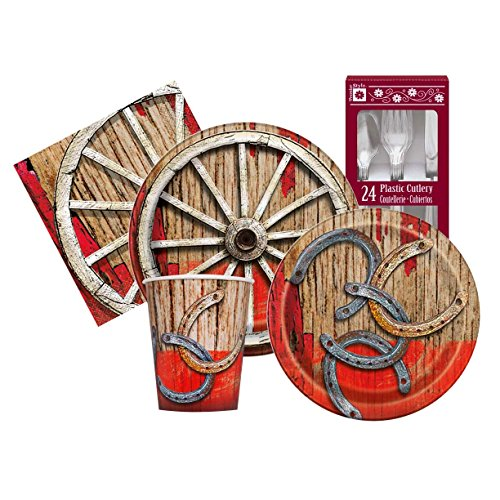 Western Rodeo Themed Birthday Party Supply Kit Serves 8