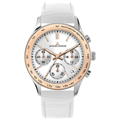 Jacques Lemans Rome Sports 1-1587ZD 37mm Steel Two Tone Case White Calfskin Mineral Women's Watch