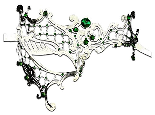 Luxury Mask Women's Signature Phantom Of The Opera Venetian Laser Cut Masquerade Mask, Silver/Green Stones, One Size