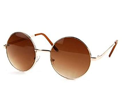john lennon sunglasses hippie retro round frame sunglasses gold brown lens
