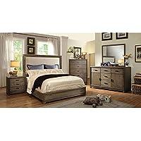 247SHOPATHOME Idf-7615EK-6PC Bedroom-Furniture-Sets, King, Oak