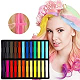 Kyerivs Hair Chalk Temporary Washable Hair Dye Chalk For Kids Girls Birthday Gifts Party Halloween Cospaly Works on All Hair Colors with Disposable Gloves and Shawls 24 color
