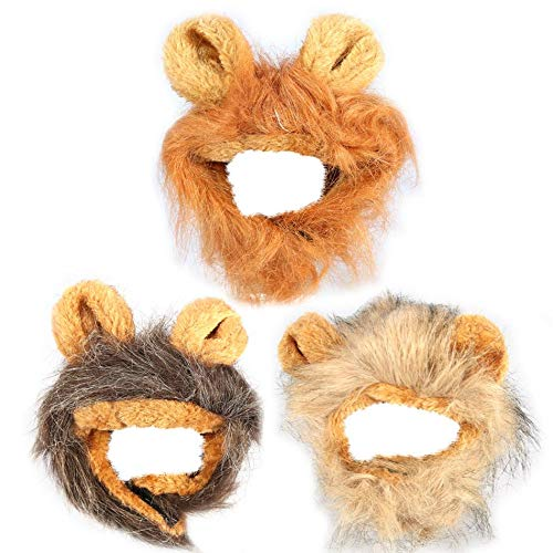 TOPINCN Pet Cat Dog Wig Simulation Lion Hair Mane Ears Head Cap Halloween Pet Cat Dog Dress Up Costume Pet Supplies New -