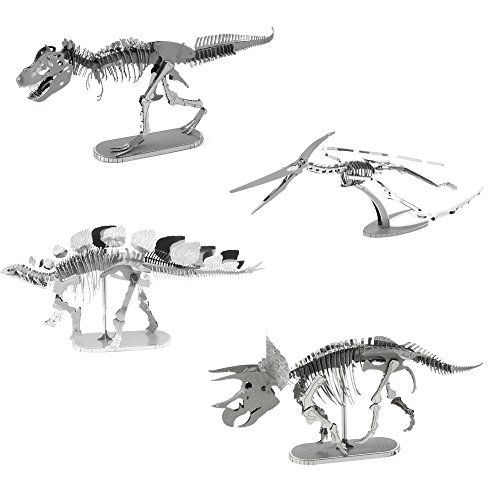 Fascinations Metal Earth 3D Metal Model Kits Set of 4 Dinosaurs - T-Rex, Stegosaurus, Triceratops and Pteranodon