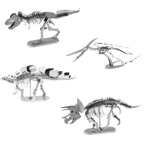 (Fascinations Metal Earth 3D Metal Model Kits Set of 4 Dinosaurs - T-Rex, Stegosaurus, Triceratops and Pteranodon)
