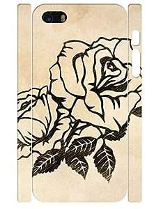 3D Print Elegant Black Rose Flower Design Tough Phone Drop Protection Case For Iphone 6 4.7inch Cover