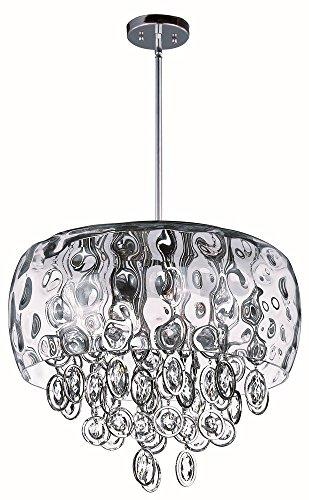 Maxim Lighting 21475WGPN Ten Light Water Glass Down Pendant, Polished Nickel